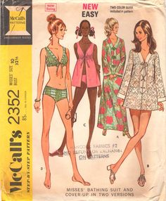 49c8c877d7 1970s McCalls 2352 Misses Two Piece Bathing Suit Beach Dress and Cover Up  Pattern EASY Womens Vintage Sewing Pattern Size 12 Bust 34