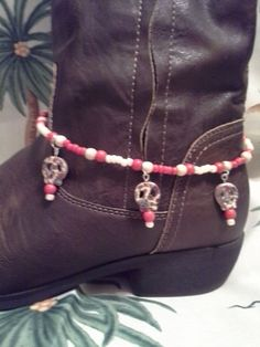 Handmade Cute Red & Cream Color Beaded Sugar Skull Charm Boot Chain/Anklet #Handmade