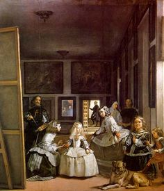 """""""Las Meninas"""" by Diego Velázquez, c. Velázquez was the leading artist of the Spanish Golden Age. The painting is on display at the Museo del Prado. Note: the man on the left side of the painting is the artist himself Most Famous Paintings, Great Paintings, Dog Paintings, Famous Artists, Classic Paintings, Portrait Paintings, Portrait Art, Spanish Painters, Spanish Artists"""