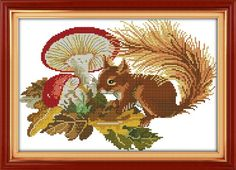 Good Value Cross Stitch Kits Beginners Kids Advanced A Squirreland Mushrooms 11 CT 18X13 DIY Handmade Needlework Set CrossStitching Accurate Stamped Patterns Embroidery Home Decoration Frameless *** Continue to the product at the image link.