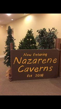 Cave Quest VBS. We made this entrance sign using a $6 sheet of styrofoam, overhead projector, cardboard tubes, paint brown paper and zip ties. We carved the letters using a screwdriver. Cave Quest Vbs, Bible Bag, Sunday School Curriculum, Bible School Crafts, Vbs 2016, Entrance Sign, Vbs Crafts, Vacation Bible School, Overhead Projector