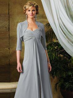 Discount Gray 3/4 Sleeves Jacket Sweetheart Beads Working Empire Chiffon Satin Floor Length Mother Of Bride Dress - Cheap 2013 Mother Of Bride Dresses - Dress2wedding.com