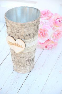 Wedding Sparklers Birch Vase- rustic wedding decorations Spring 2014
