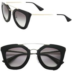 Pre-owned Prada Cinema Cat Eye Double-bridge Sunglasses Black/light... ($370) ❤ liked on Polyvore featuring accessories, eyewear, sunglasses, thick black sunglasses, thick black glasses, sunnies, oakley sunglasses and cat eye sunglasses