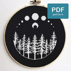 Moon Forest Cross Stitch Pattern Black and White Cross Stitch Witchy Cross Stitch Occult Cross Stitch Full Moon Nature Cross Stitch - VioletMagicShop is glad to introduce Moon Forest Cross Stitch Pattern! You will get a PDF counted c - Pagan Cross Stitch, Cross Stitch Charts, Counted Cross Stitch Patterns, Cross Stitch Moon, Embroidery Art, Cross Stitch Embroidery, Embroidery Patterns, Simple Embroidery, Machine Embroidery