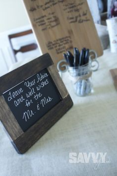 Leave you advice and well wishes for the FUTURE mr. and mrs.   Cute idea... Maybe on little slips of paper or something.