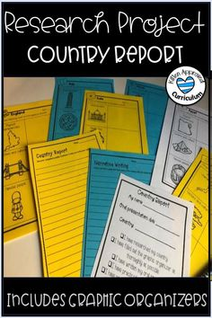 Great country report template for upper elementary students! Students will love researching and writing using this country report project. This activity comes with graphic organizers, narrative and opinion writing prompts, and teacher rubrics. Click here to learn more Teaching Narrative Writing, Narrative Writing Prompts, Writing Assignments, Informational Writing, Teaching Social Studies, Writing Lessons, Student Teaching, 6th Grade Activities, About Me Activities