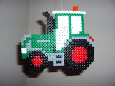 Tractor hama beads by Patrick Perler Beads, Perler Bead Art, Fuse Beads, Pearler Bead Patterns, Perler Patterns, Origami 3d, Hama Beads Design, Iron Beads, Melting Beads