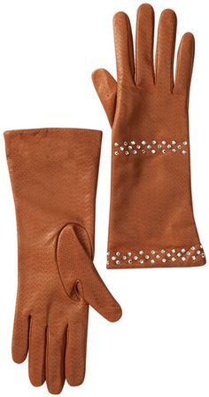 Portolano Leather Rhinestone Stripe Gloves