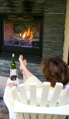 An outdoor fireplace, wine...romance at the Farmhouse Inn in Sonoma's wine country.