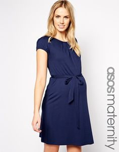 Enlarge ASOS Maternity Exclusive Kate Dress With Belt And Scoop Neck With Capped Sleeve