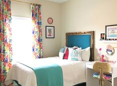 Golden Petals Project - A space filled with color, abstract florals, and brass and gold accents.