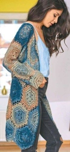 CROCHET CARDIGAN. FREE PATTERN. 40 wholes in 6 halves I'm sorry, there's no name for yarn, only 98% cotton 1% polyester. 280 meters = 50 grams. The hook is 3 millimeters. In Russian, th…