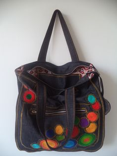Tote Bags, Print Design, Shoulder Bag, Fashion, Wool Yarn, Embroidery On Jeans, Jean Bag, Hand Bags, Block Prints