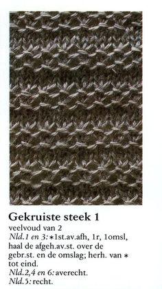 Gekruiste steek 001 - Breisteken Knitting Stiches, Knitting Videos, Knitting Charts, Stitch Patterns, Knitting Patterns, Boyfriend Crafts, Crochet Wool, Make Your Own Clothes, Valentine's Day Diy