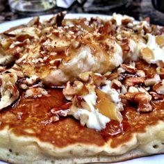Banana nut pancake at the Pancake House in Puerto Vallarta, México.