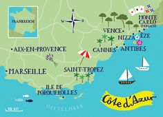 Illustrated Map of Cote d'Azur by bianca tschaikner, via Behance