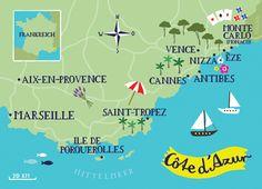 Illustrated Map of Cote d'Azur by bianca tschaikner, via Behance