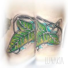 Leaf of Lorien (Lord of the Rings) Tattoo  - by Lunakia Instagram: lunakia.tattoo Ring Tattoos, Leaf Tattoos, Lord Of The Rings Tattoo, Watercolor Tattoo, Tattoo Designs, Leaves, Drawings, Instagram, Sketches