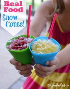 Making a Real Food Snow Cone honestly couldn't be any easier. Think about it - a snow cone is basically just ice (that's definitely real) topped off with highly