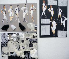 Fashion Sketchbook - fashion sketches & fabric manipulations for shirt project; fashion portfolio // Tamara Novikova