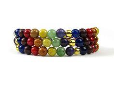 7 Chakra Jade Bead for Spiritual Growth, Wrap Bracelet on Memory Wire #bc126