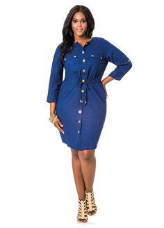 98f2b002eb3 Linen Drawstring Waist Shirt Dress - Ashley Stewart Curvy Fashion