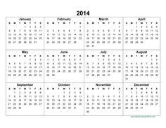 Printable Blank Calendar 2014