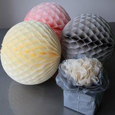 Set Of Four Vintage Look Paper Balls Large