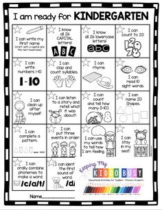 KINDERGARTEN ROUND UP - kindergarten readiness checklist and curriculum free activities