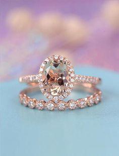 Solid Rose Gold Morganite Gemstone Ring Set Women Wedding Jewelry NEW Engagement Ring Rose Gold, Vintage Engagement Rings, Diamond Wedding Bands, Halo Diamond, Halo Engagement, Diamond Rings, Gemstone Rings, 4 Diamonds, Look Retro