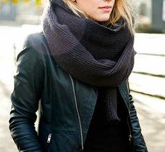 cool girl big scarf