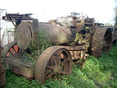 These photographs by Ian Comley were taken a couple of years ago and show the remains of Fowler ploughing engine diesel conversions lying derelict at Wixford, near Stratford-upon-Avon. Once owned. Abandoned Vehicles, Abandoned Cars, Stratford Upon Avon, Antique Tractors, Electric Cars, Color Theory, Vintage Cars, Badass, Trains