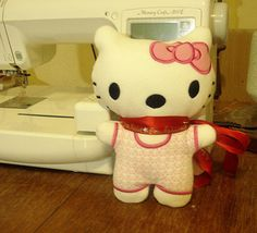 Free machine embroidered Hello Kitty soft toy