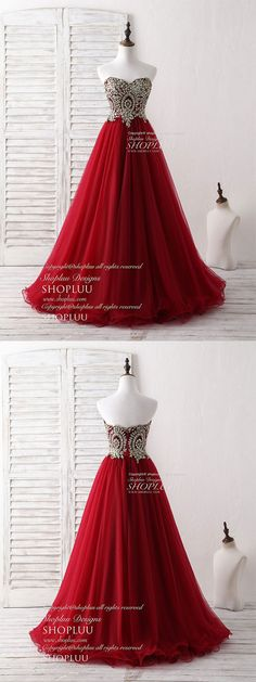 Burgundy sweetheart neck lace applique tulle long prom dresses, burgundy tulle lace applique long formal dress
