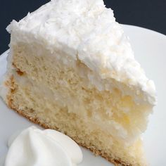 Light and dreamy, this coconut cream cake recipe makes a two layer white cake topped with a creamy coconut flavored frosting.