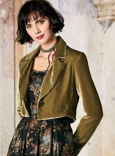 5234465f1c4 Cropped Velvet Jacket - Coats   Jackets