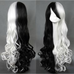 Black and White long curly wig with bangs- made -to -order ($65) ❤ liked on Polyvore featuring beauty products, haircare, hair styling tools, hair ve curly hair care