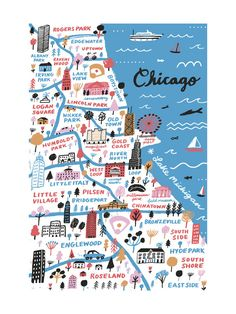 """""""I Love Chicago"""" - Art Print by Jordan Sondler in beautiful frame options and a variety of sizes."""