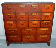 Early 19th C American pine apothecary cabinet c1839