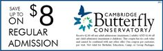 Cambridge Butterfly Conservatory Coupon - $8.00 OFF Ontario Attractions, Enjoy Your Vacation, Conservatory, Cambridge, Coupons, Things To Do, Butterfly, Travel, Ideas