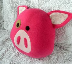 This listing is for ONE Pig Pillow in the color of your choice:  - Hot Pink - Light Pink Made with fleece, cotton fabrics, and fill with