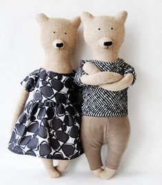 cool modern plushie teddies how cool would he be to make for fathers day for a hip dad gift family bears