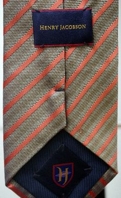 $17.00 Henry Jacobson - 100% Silk - Designer Men's Neck Tie