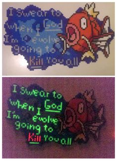 Magikarp - Perler by staubtaenzerin on DeviantArt Pearler Bead Patterns, Perler Patterns, Fuse Beads, Hama Beads, Pokemon Chart, Pokemon Sprites, Pokemon Perler Beads, Peler Beads, Melting Beads