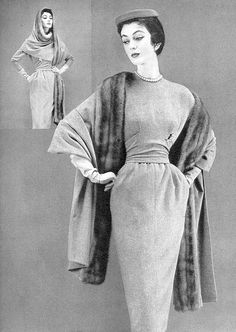 1953 Dovima in wool jersey sheath with matching stole edged in mink by Maurice Rentner, Vogue, September