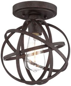 Franklin Iron Works Bronze Modern Atom Ceiling Light -