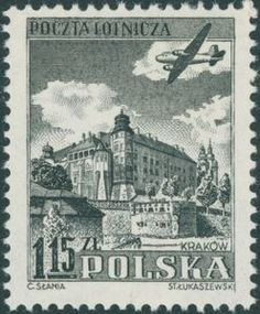 Stamp: Wawel castle, Cracow (Poland) (Airplane over historic buildings) Mi:PL 717 Vintage Art, Vintage World Maps, Airplane Art, Interesting Buildings, Vintage Airplanes, Aircraft Design, Types Of Art, Postage Stamps, Poland