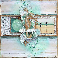 'Always' Layout by Belinda Spencer, Kaisercraft Beach Scrapbook Layouts, Scrapbook Sketches, Scrapbook Albums, Scrapbooking Layouts, Wedding Scrapbook, Travel Scrapbook, Mix Media, Art Plastique, Scrapbook Supplies