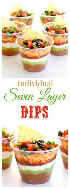 These Individual Seven-Layer Dips are individually portioned dips perfect for parties and get togethers. No double dipping here! http://the-girl-who-ate-everything.com